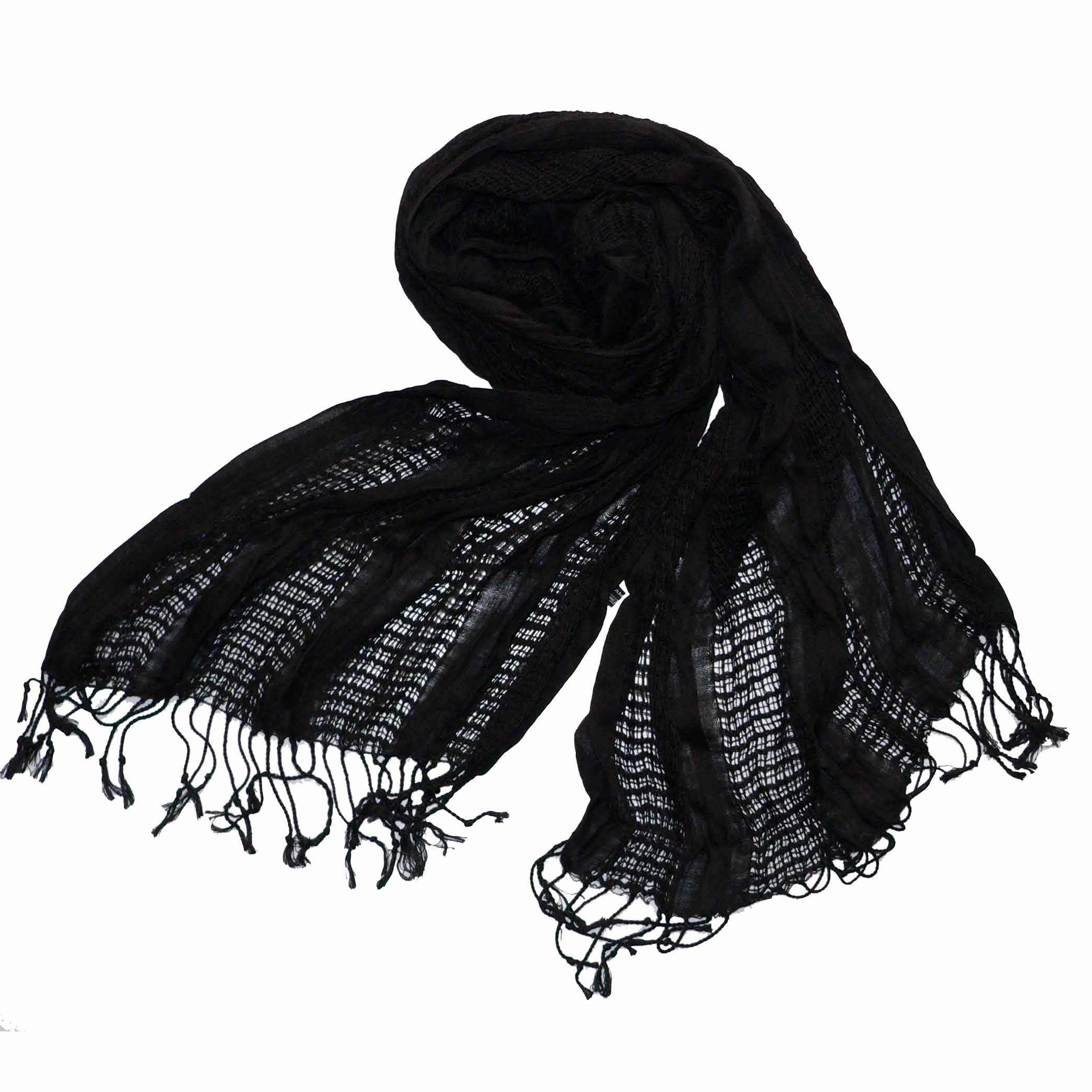 Solid color mesh scarf