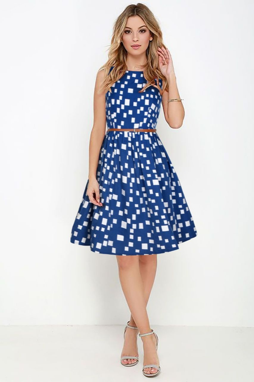 Checkered Pattern Blue Flare Dress