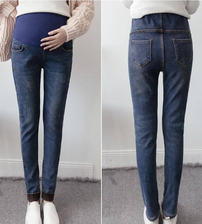 Ladies High Elastic Waist  Fleece Lined Jeans