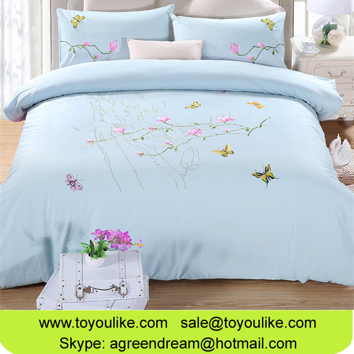 Toyoulike Exquisite Pure Cotton Handmade Embroidered Bedding Set Duvet Cover Bed Sheet Pillowcases
