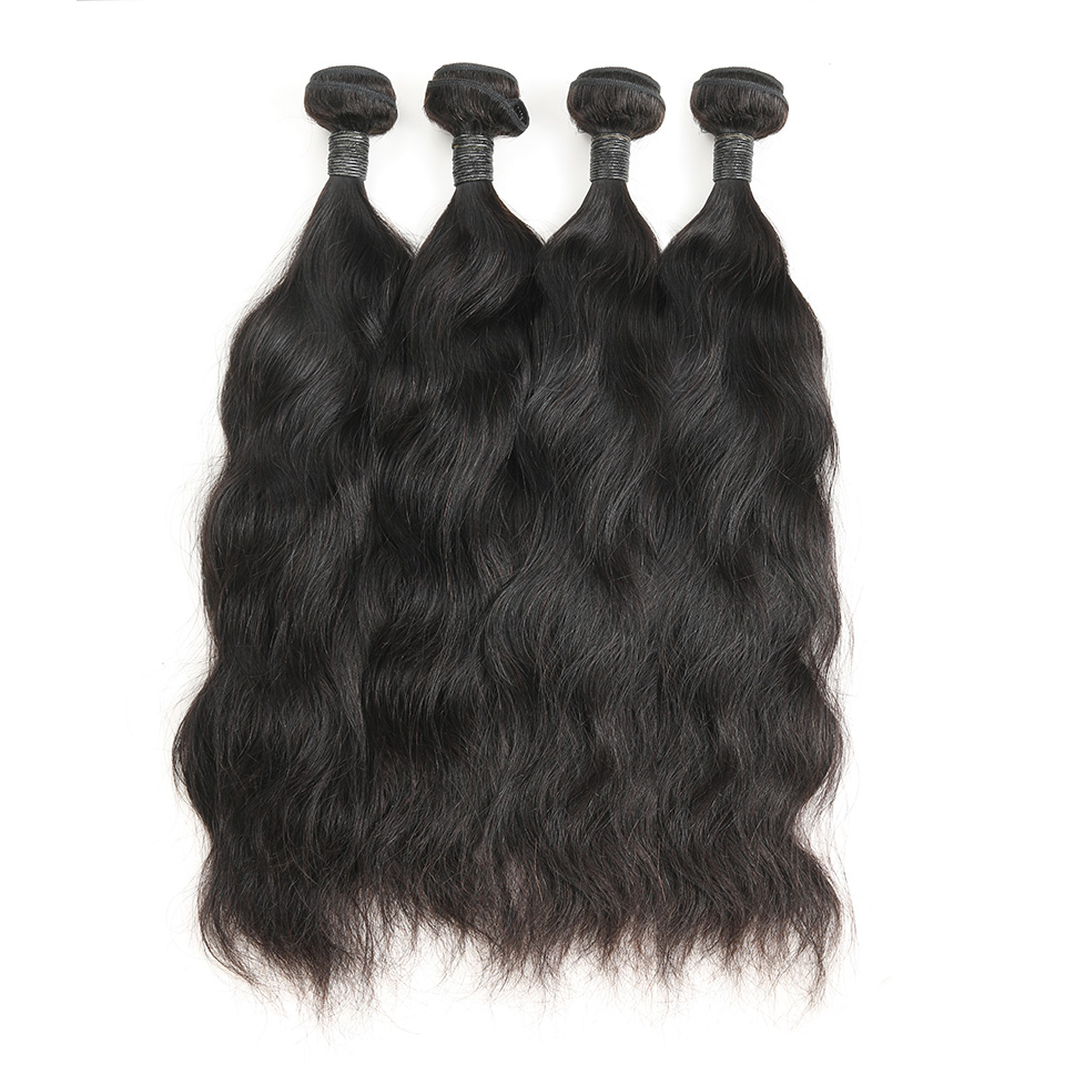 9A Brazilian Natural Wave Human Virgin Hair Weave 4 Bundles With Lace Closure