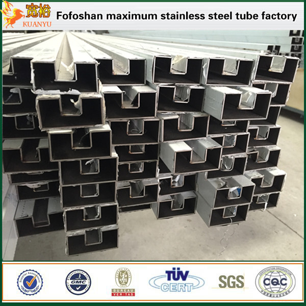 316 polish surface steel square slotted tube square stainless tubing