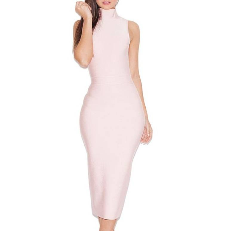Noble ladies style pink sleeveless Long gown with high collar