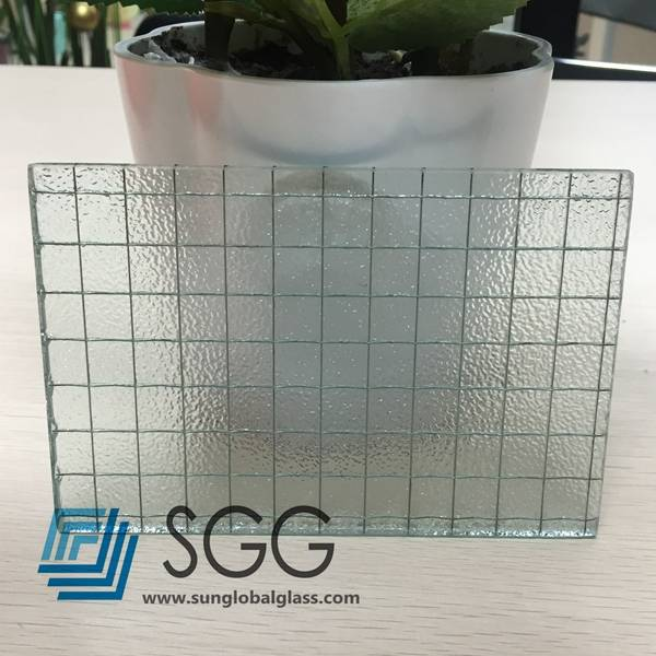 6mm 6.5mm 7mm Clear Nashiji Wired Patterned Glass