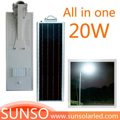 20W All in one solar powered LED yard, security, residential, Prairie light with motion sensor funct