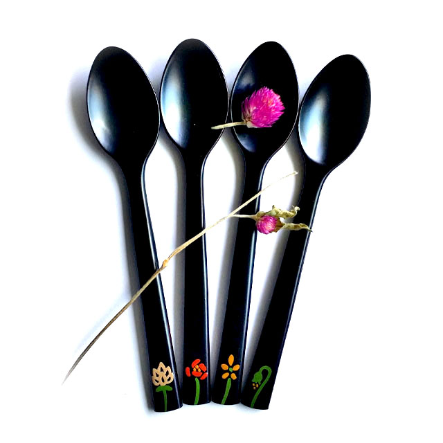 [Made in Korea]  High quality natural lacquer handmade tea and baby food spoon/fork_flower