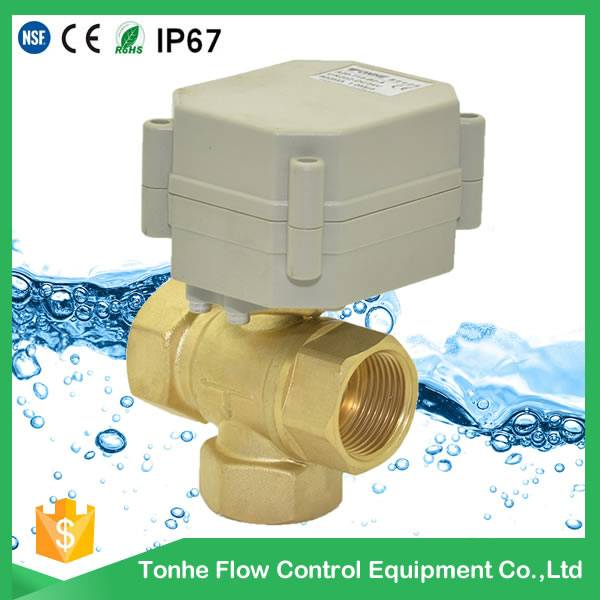 3 way brass motorized ball valve 12v 24v water shut off,mini auto control water system,water meter