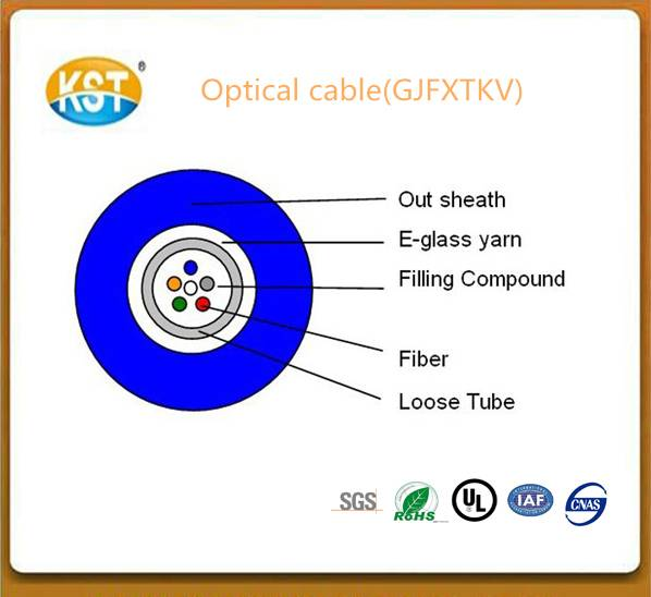 Communication cable/2-12 cores Central Loose tube In/outdoor  Optical Cable(GJFXTKV)