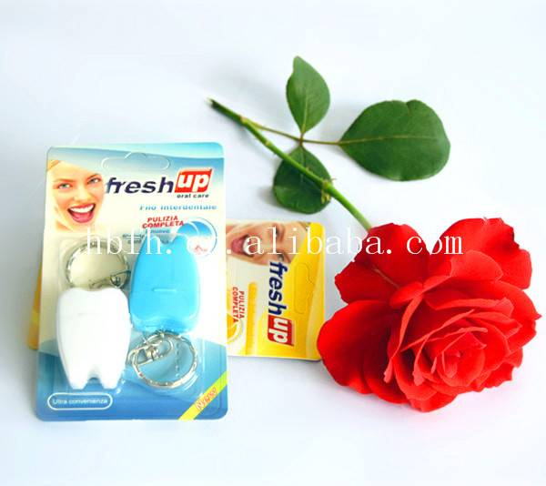 unwaxed tooth shape dental floss with strawberry or cool mint flavor