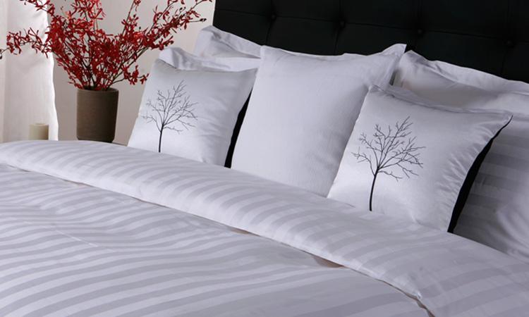 Eliya ISO9001 Luxury 5 Star Quality Stripe White 100 Cotton Linen Sheet Bedding Set Hotel Bed Sheets