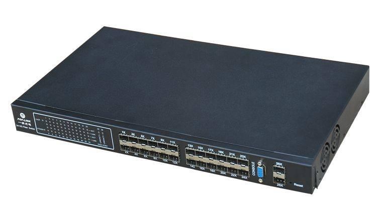 Ethernet fiber switch,24 ports 100M SFP and 2 ports 1000M SFP,management
