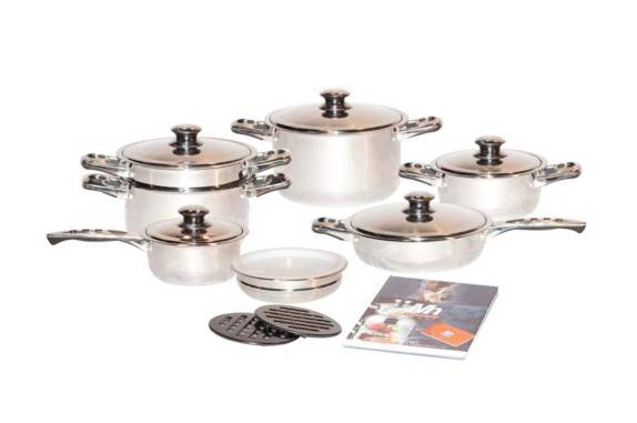Millerhaus SAS17-H 17-Piece T304 Stainless Steel Cookware Set with 7-Ply Bottom