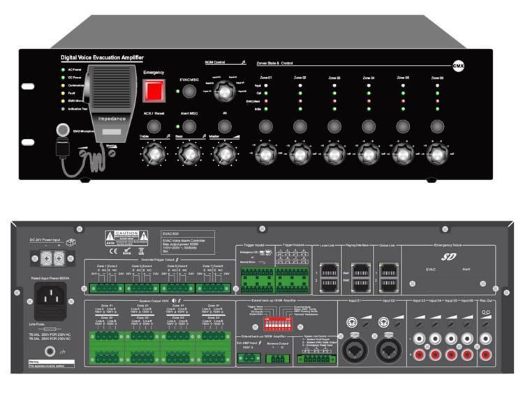 6 Zone Voice Evacuation Amplifiern(500W)