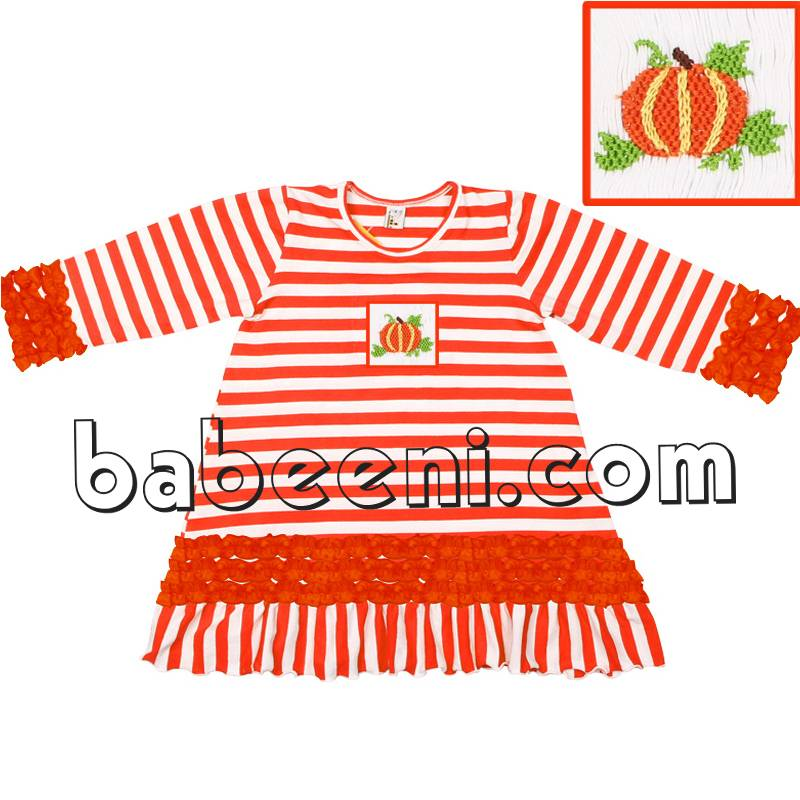 Beautiful pumpkin smocked knit dress for Thanksgiving - KN 126