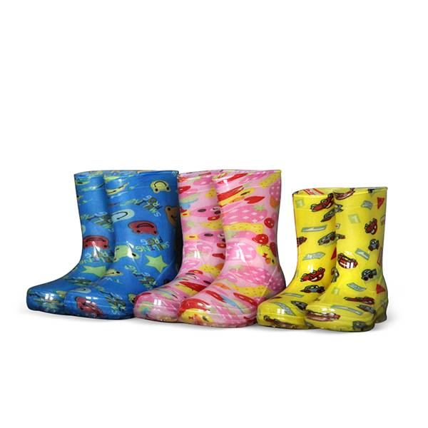 lovely jelly style cartoon print kids PVC rain boots