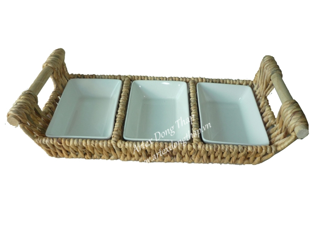 Water hyacinth tray with ceramic inside - SD2564A-1NA