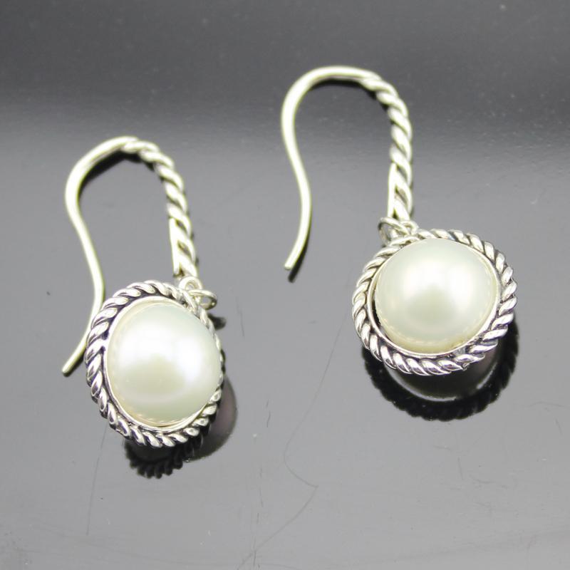 Sterling Silver Jewelry White Pearl Dangel Earrings (E-089)