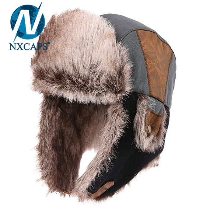 Breathable taslon fabric Russian style hats sheepskin lining winter outdoor ushanka Russian hats