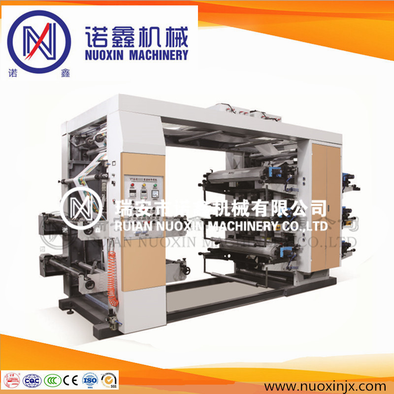 Stack type 6 color plastic film flexo printing machine