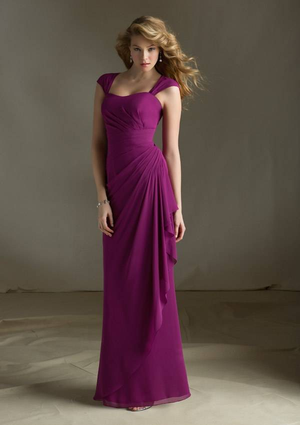 2014 New Custom Made Satin Chiffon Pleat Button Bridesmaid Dress Bridesmaid Gown with Straps