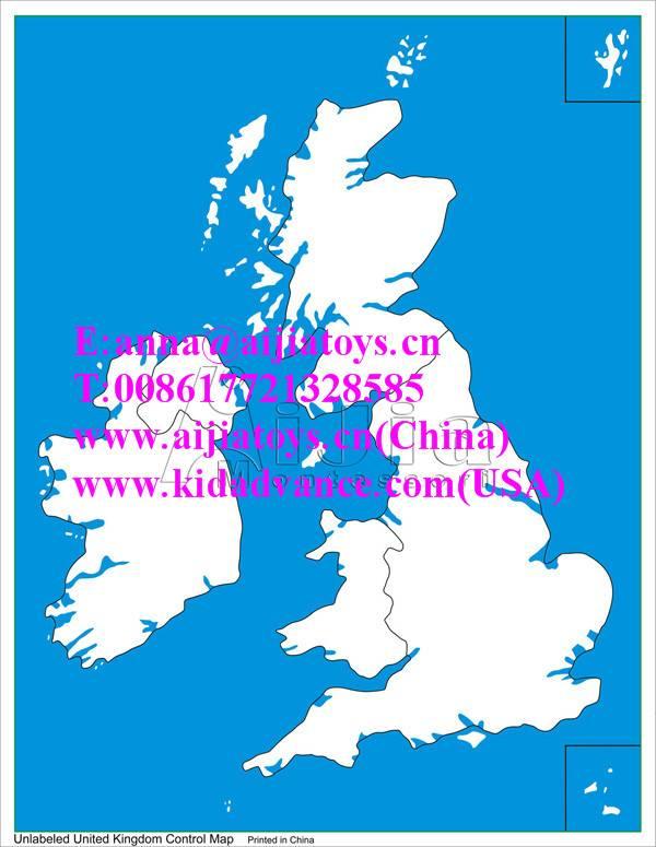 Montessori Unlabeled UK Control Map,montessori materials toys