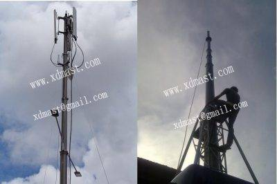 heavy duty telescopic antenna mast in telecommunication tower
