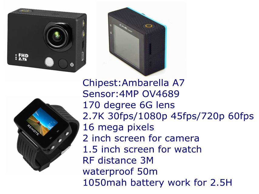 2.7K visible remote watch ambarella A7 chip high quality HD sport dvr