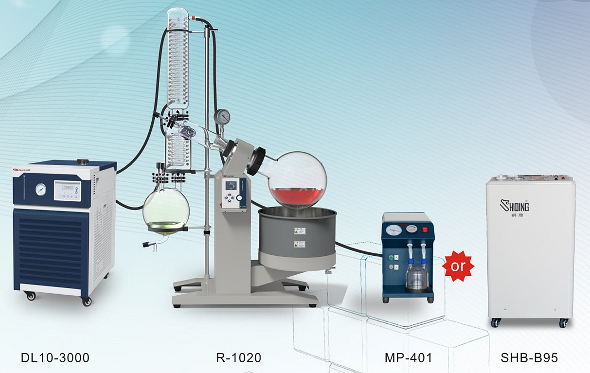 University Use Short Path Distillation Rotary Evaporator 20L Rotovapor with Chiller and Vacuum Pump
