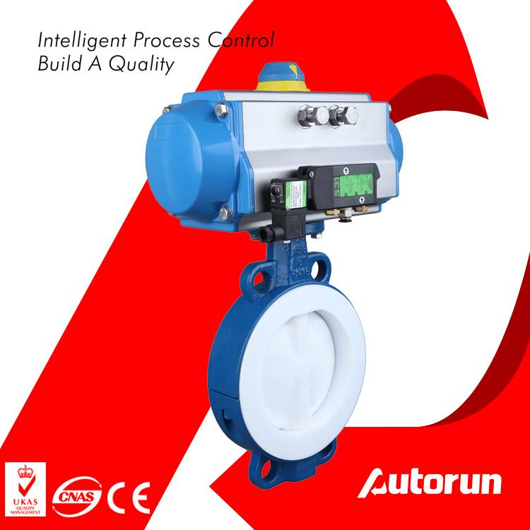 Anti-Corrosion Fluorine Lined Wafer Pneumatic Butterfly Valve