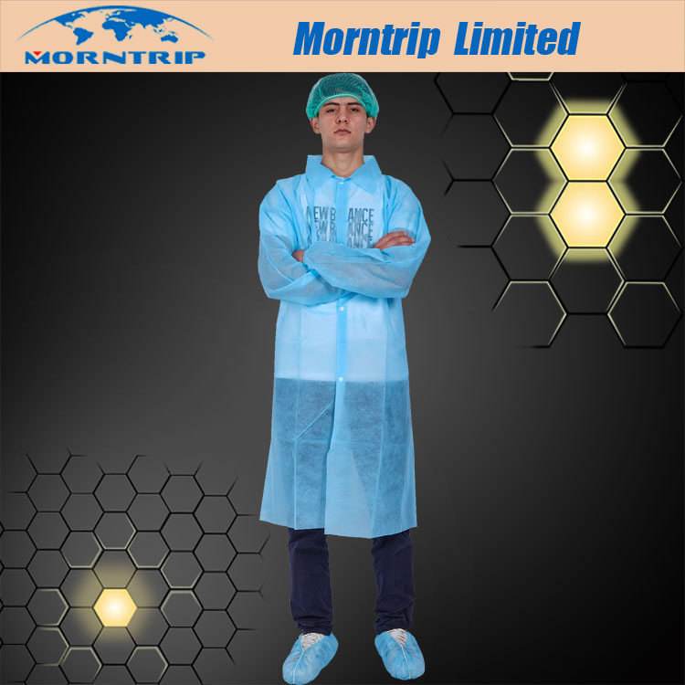 Lab Coat with Elastic Cuff and Collar