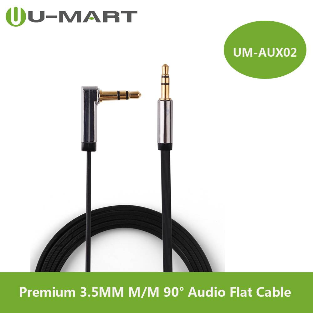 Premium 3.5MM Male to Male right angle Audio Flat Cable