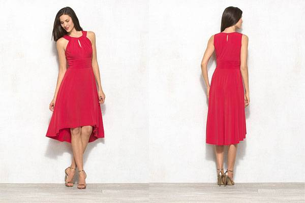 Fashion design Hi-low red halter dress for women