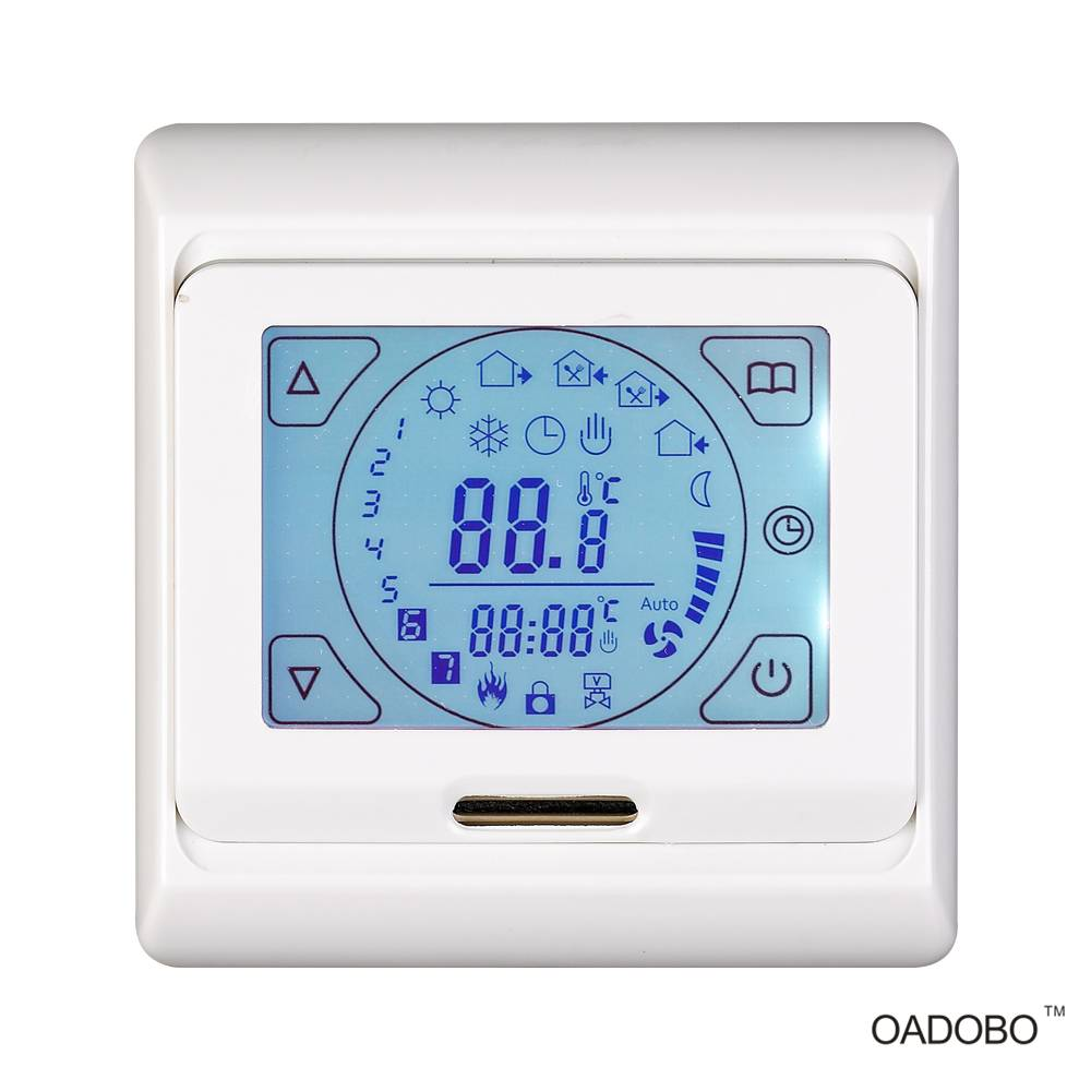 V9 touch screen digital floor heating thermostat for room temperature central control