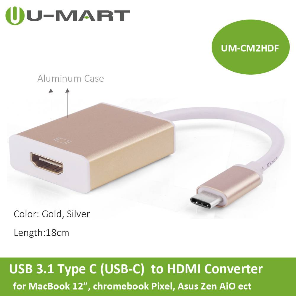 USB 3.1 Type C  to HDMI Converter Cable--Aluminum Case