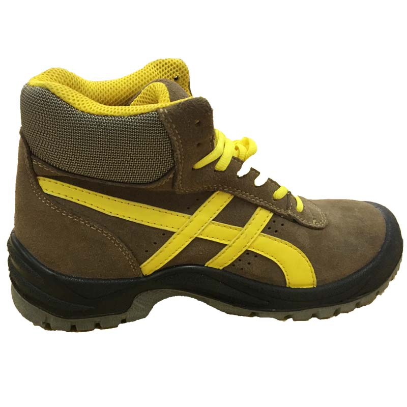 Yellow and Brown Genuine Leather Upper Steel Toe Safety Shoes for Footwear