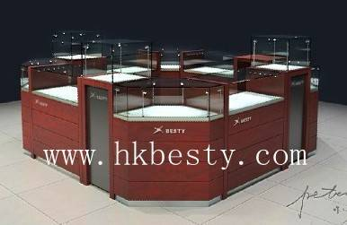 Cherry finish full enclosed kiosk jewelry display case