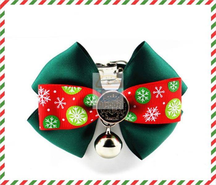 Christmas holidays Decorative Pet PU Collar with Bowknot Pet collar B