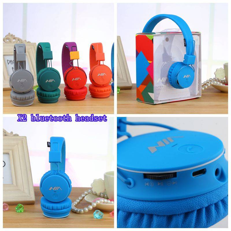 X2 bluetooth wireless headphone with fm radio function