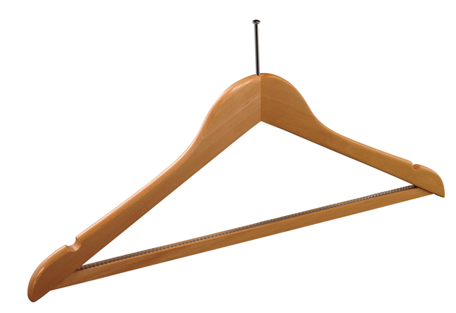 Hotel wooden anti-theft hanger with non-slip bar hot sell wooden hanger