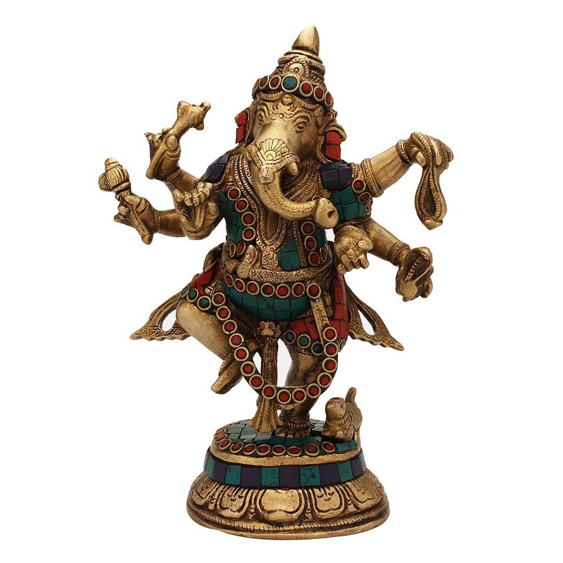 Dancing Lord Ganesha statue in Turquoise coral work
