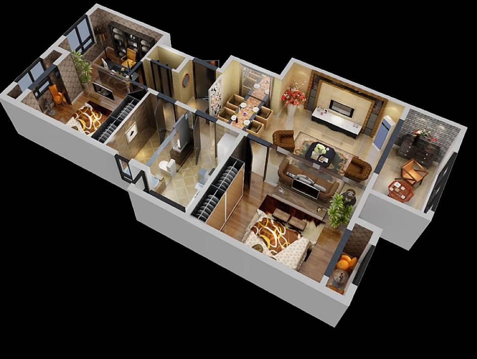 3D Interior Visualization--Sample Room