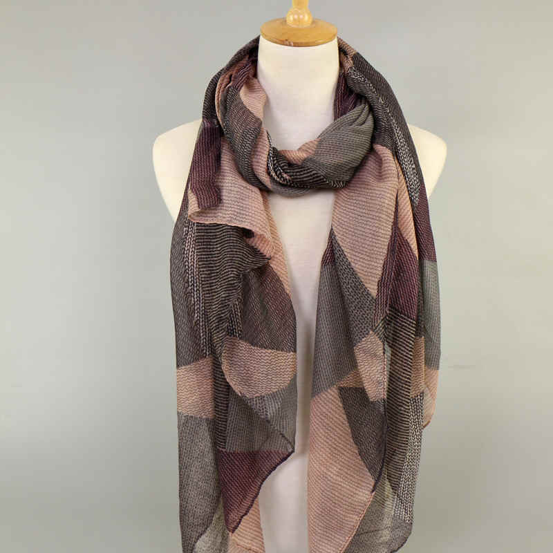 Winter High Quality Geometric Voile Long Scarf Shawl