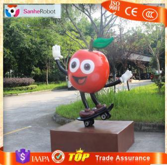 Shop Decor Fresh Fruit H=1.5m Fiberglass Fruit Apple Sculpture