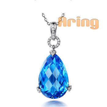 Wholesale 18k Gold Jewelry Topaz pendants solid gold jewelry