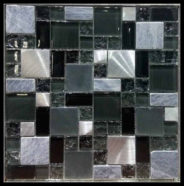 Glass and stainless steel mix mosaic