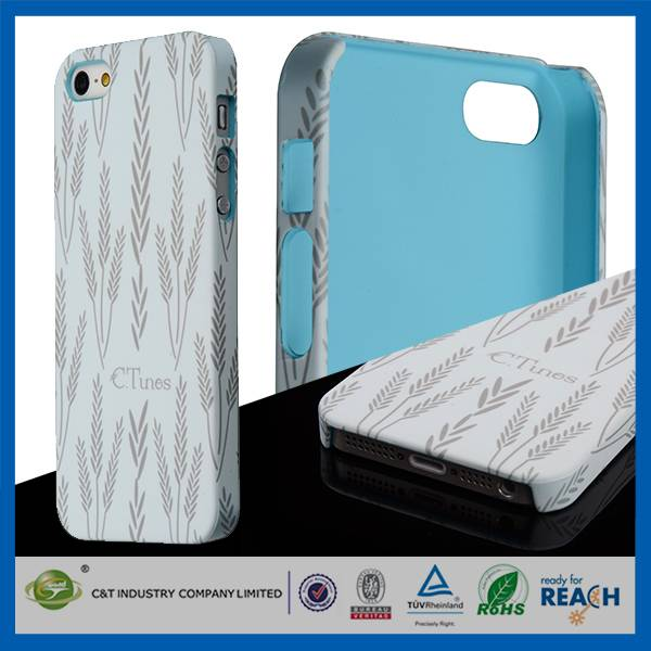 C&T high quality grass oil spout hard back pc cover for iphone 5