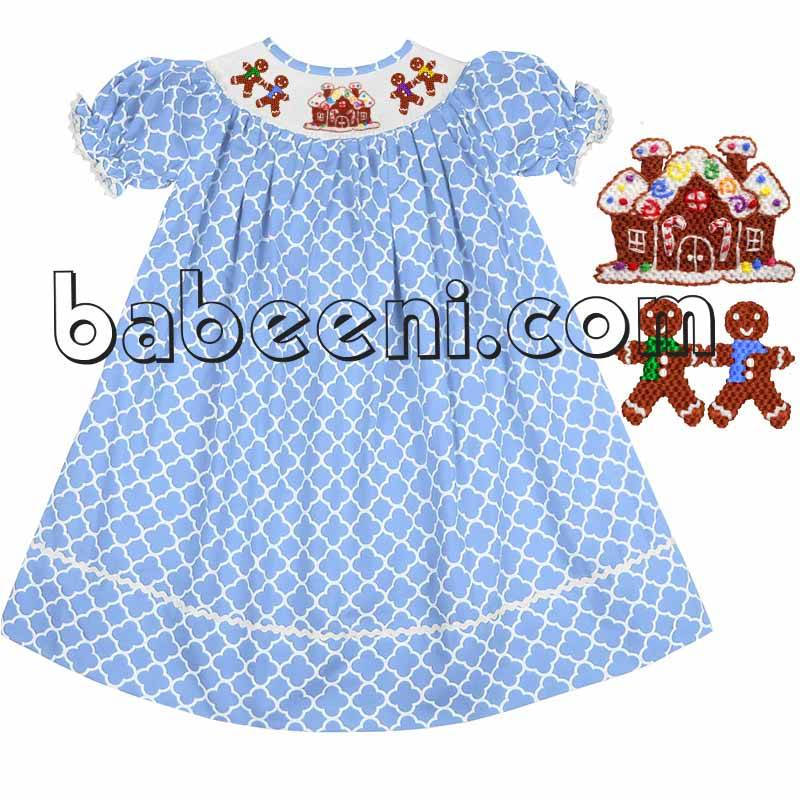 X-mas house and Gingerbread smocked bishop dress - DR 2003