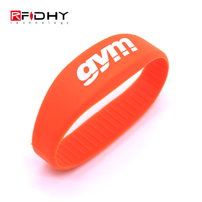 Silk screen Printing Contactless Silicone RFID Wristband for Water Park