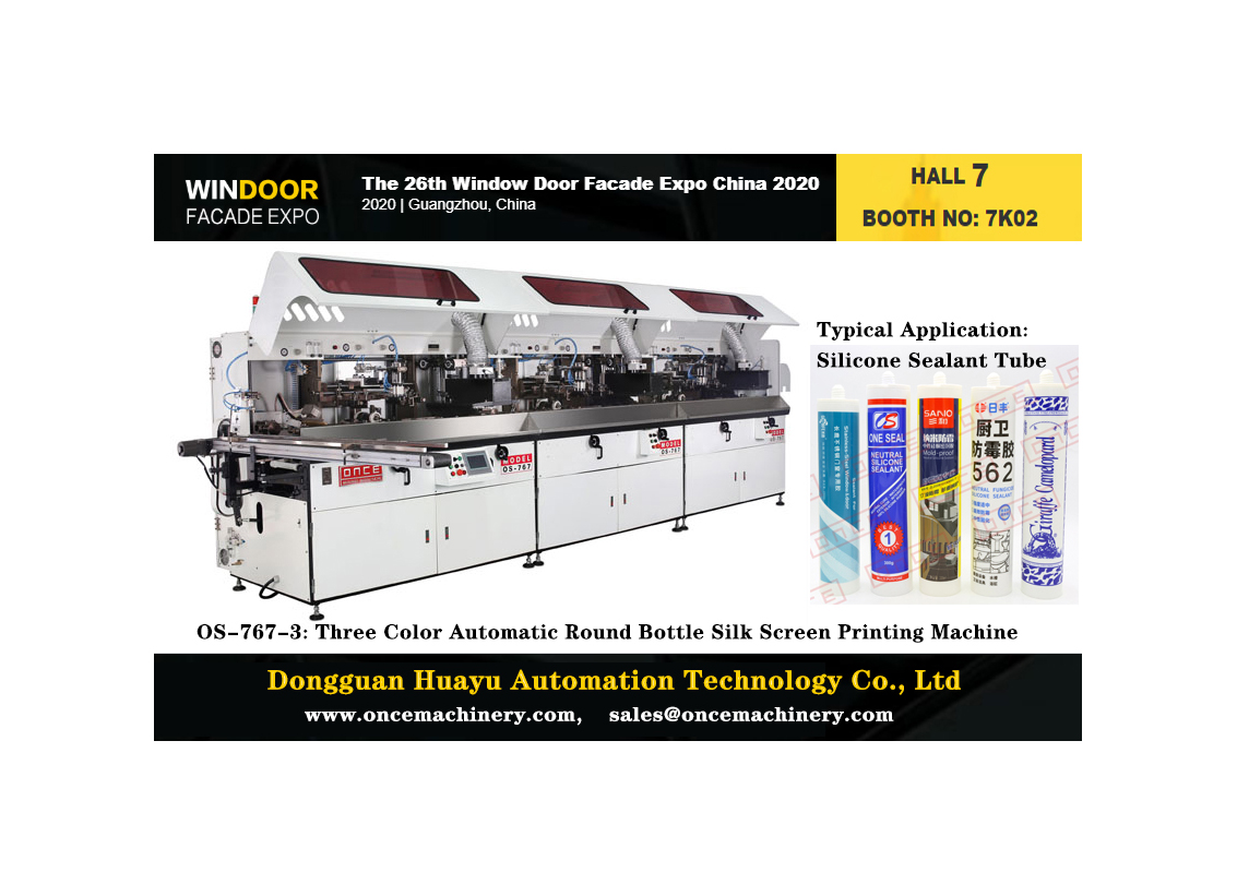 Huayu Automation OS-767-3 Three Color Automatic Round Bottle Silk Sealant Screen Printing Machine
