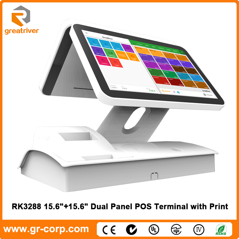 GreatRiver i9 14.1'' Dual Panel Touch Screen POS Terminal with Printer